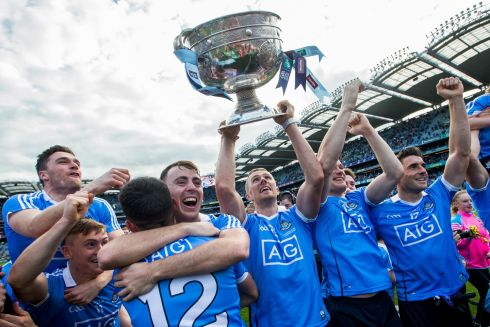 Dublin celebrate after beating Mayo by a point in the All Ireland Football Final Photo: INPHO/Tommy Dickson