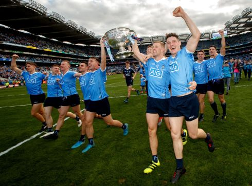 Dublin's Paul Mannion and Diarmuid Connolly celebrate with the Sam Maguire Photo: INPHO/James Crombie