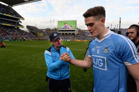 Jim Gavin Manager and Brian Fenton, Dublin v  Mayo  in the All Ireland senior football championship final at Croke Park, Dublin. Photograph: Dara Mac Donaill / The Irish Times
