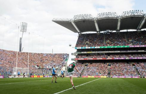 Mayo's Cillian O'Connor hits the post with a late free. Photograph: Ryan Byrne/Inpho