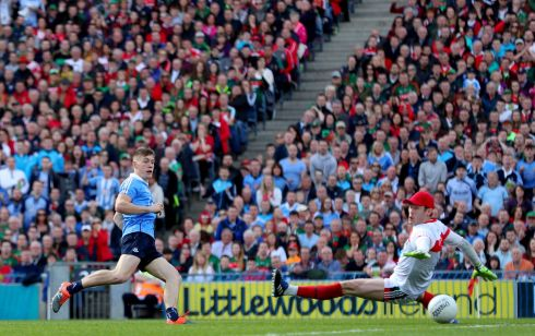 Dublin's Con O'Callaghan scores a goal early in the first half. Photograph: James Crombie/Inpho