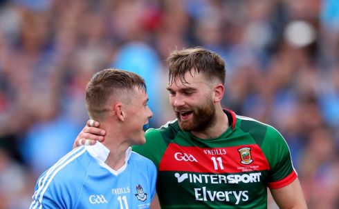 Dublin's Con O'Callaghan and Aidan O'Shea of Mayo share a joke. Photograph: James Crombie/Inpho