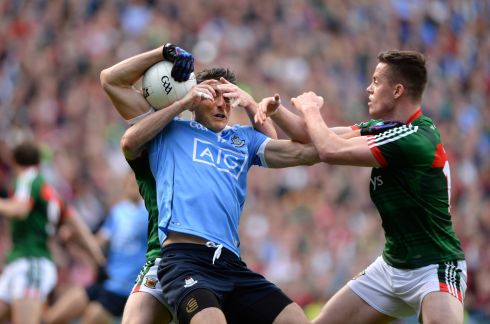 Bernard Brogan, Dublin tackled by Keith Higgins and Stephen Coen, Mayo  in the All Ireland senior football championship final at Croke Park, Dublin. Photograph: Dara Mac Donaill / The Irish Times