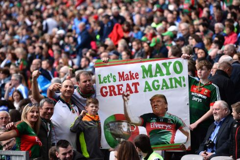 Mayo fans display a banner featuring Donald Trump at Croke Park. Photograph: Dara Mac Donaill