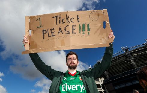 Mayo fan John Glynn from Kiltimagh, Co. Mayo in search of a ticket. Photograph: James Crombie/Inpho