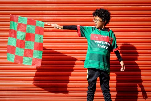 Mayo fan Nathan Walsh was selected as flag bearer for the game. Photograph: Oisín Keniry/Inpho