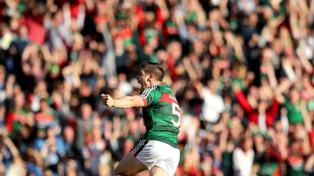 Lee Keegan celebrates scoring for Mayo in the All-Ireland final against Dublin. Photograph: Ryan Byrne/Inpho