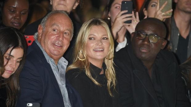 Sir Philip Green, Kate Moss and Edward Enninful attend Topshop's London Fashion Week show on September 17th, 2017 in London, England. Photograph: Dave Benett/Getty