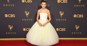 Millie Bobby Brown of Stranger Things in Calvin Klein by Appointment. Photograph: Mark Ralston/AFP/Getty Images