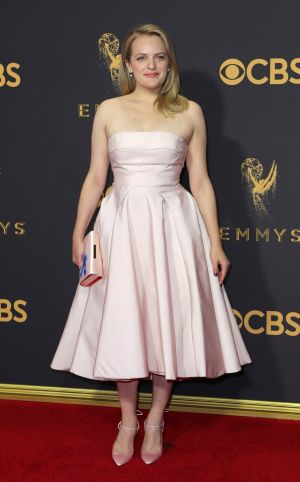 Elisabeth Moss, star of Handmaid's Tale, wearing Prabal Gurung. Photograph: Mike Blake/Reuters