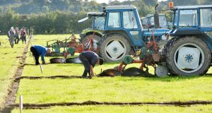Competitors ploughing fields at last year's championship in Screggan, Tullamore, Co Offaly. Photograph: Alan Betson/The Irish Times