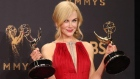 Rainbow colours shine on the Emmys red carpet