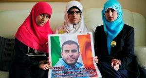Omaima (left) Fatima and Somaia Halawa sisters of Ibrahim Halawa aged 18 who is currently in Prison in Egypt, pictured in their home in Dublin.Photograph: Aidan Crawley/The Irish Times