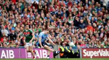 Dean Rock lands the free which won the All-Ireland for Dublin. Photograph: Ryan Byrne/Inpho