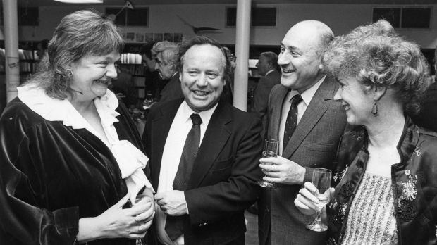 Maeve Binchy, Brendan Kennelly, David Marcus and Ita Daly at the official opening of Waterstones Bookshop on Dawson Street, Dublin in 1987. Photograph: Pat Langan