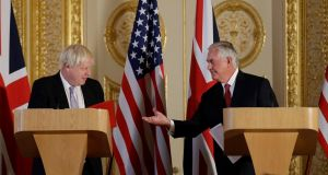 British  foreign minister Boris Johnson with US secretary of state Rex Tillerson who has  been sent a bipartisan letter from Congress urging him not to eliminate the position of Special Envoy to Northern Ireland. Photograph: Matt Dunham/AFP/Getty Images