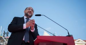 Martin Schulz, chancellor candidate of the German Social Democratic party (SPD): mood has changed since March as  voters are likely to reject the 61-year-old, his party and manifesto as credible agents of change. Photograph: Steffi Loos/AFP/Getty Images