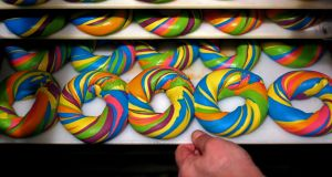 World of colour: a  tray of baked Rainbow Bagels at The Bagel Store in Brooklyn. Photograph: Yana Paskova/The Washington Post via Getty Images