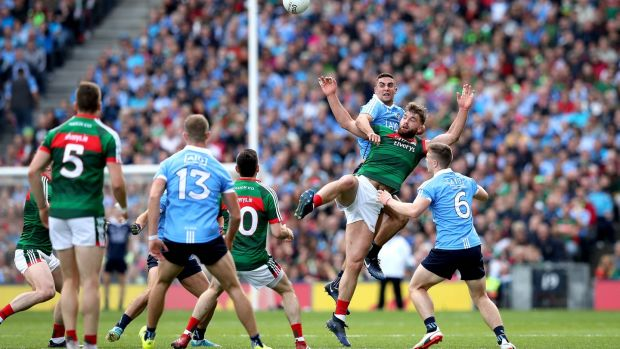 Mayo's Aidan O'Shea and James McCarthy of Dublin during the All-Ireland final. Photograph: James Crombie/Inpho