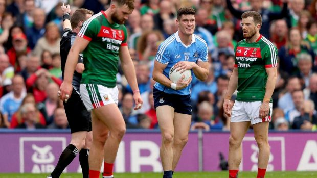 Diarmuid Connolly showed some cuteness which Mayo lacked after winning that late free, telling his team-mates to calm down. Photograph: James Crombie/Inpho