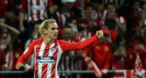 Atlético Madrid's Antoine Griezmann celebrates after scoring the first goal at Estadio Wanda Metropolitano against Malaga last Saturday. Photograph: EPA