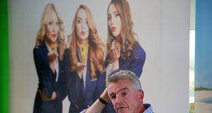 "Sitting under an ""Always Getting Better"" banner, O'Leary explained how things had got a whole lot worse both for his airline and for many of its passengers in recent days. Photograph: Nick Bradshaw"