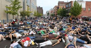 Protesters stage a 'die-in' during a  rally outside  police headquarters, in St Louis, Missouri, US.  Photograph: Lawrence Bryant/Reuters