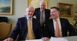 Green Reit chairman Gary Kennedy, director Stephen Vernon and chief executive Pat Gunne. Photograph: Nick Bradshaw