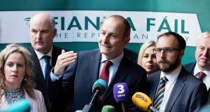 Leader of Fianna Fáil Micheál Martin with members of the Fianna Fáil  parliamentary party ahead of the party's think-in  in Longford, on Monday. Photograph: Eamonn Farrell/RollingNews.ie