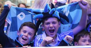 Fans Callum Murray and Adam Denton pictured at Dublin homecoming in Smithfield square Dublin Photograph: Stephen Collins/Collins Photos