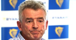 Ryanair CEO Michael O'Leary at a press conference at their HQ in Swords. Photograph: Collins Dublin.