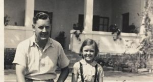 Wendy Airey (6) with her father Seymour Webb in Tanzania