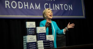 Former US secretary of state Hillary Clinton onstage to sign copies of her new book 'What Happened' at Barnes and Noble bookstore, New York. Photograph: Drew Angerer/Getty Images