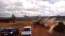 Eyewitness video shows helicopter mistakenly firing on spectators in Russia