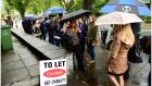 People queue to view a property available to rent. Photograph: Bryan O'Brien/The Irish Times
