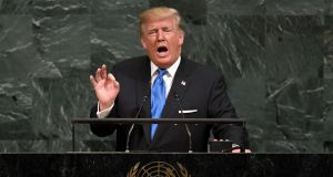 US president Donald Trump addresses the 72nd  UN General Assembly in New York. Photograph: Timothy A Clary/AFP/Getty Images