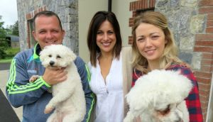 Davy Fitzgerald with his two poodles, Holly and Sophie (don't ask us which is which), Lucy Kennedy and his partner Sharon during the filming of Living with Lucy.