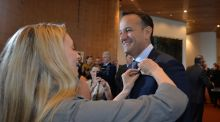 "Dr Ruth Freeman of  Science Foundation Ireland pins a ""Believe in Science"" badge on Taoiseach Leo Varadkar  at the Data Summit in Dublin. File photograph: Alan Betson/The Irish Times"