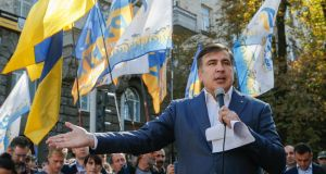 Former Georgian president and ex-Odessa governor Mikheil Saakashvili speaks to journalists in front of the Presidential Office in Kiev, Ukraine,  September 19th, 2017. Photograph: Sergey Dolzhenko/EPA