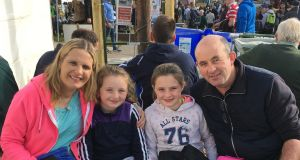 Catriona and John Carley with children Maebh (8) and Emily (10).  Photograph: Sean Dunne