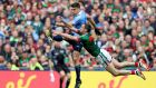 Dublin's Bernard Brogan in action against  Keith Higgins of Mayo. Photograph: Tommy Dickson/Inpho