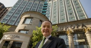 Hotelier Howard Hastings at Belfast's Europa Hotel: The city boasts some of the top performing hotels in the UK according to a new report. Photograph: Dara Mac Dónaill
