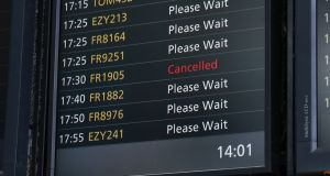 A cancelled Ryanair flight on a departure board at Stansted Airport in the UK on Tuesday. Ryanair chief executive Michael O'Leary and his board will face shareholders at the company's annual general meeting on Thursday. Photograph: Neil Hall/EPA