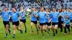 Dublin's Niall Scully, Cormac Costello, Brian Fenton, Con O'Callaghan, Paul Mannion, Paddy Andrews and Diarmuid Connolly celebrate their latest win. Photograph: James Crombie/Inpho