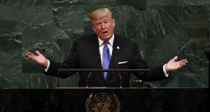 US president Donald  Trump addressing the UN  General Assembly,  September 19th. Photograph: EPA/JUSTIN LANE
