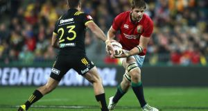 Iain Henderson, seen here in action for the Lions against the Hurricanes, could make his seasonal reappearance off the bench against the Dragons. Photograph: David Rogers/Getty Images.