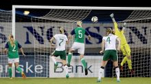 Northern Ireland's Lauren Perry can't stop a goal from Megan Campbell. Photograph: William Cherry/Inpho