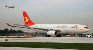 The first Airbus A330 plane to be delivered from Airbus' Chinese completion plant for A330 jets to Tianjin Airlines. Photograph: Reuters