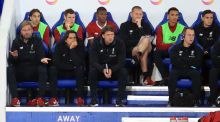 Jürgen Klopp and the Liverpool bench look on during their 2-0 defeat to Leicester. Photograph: Mike Egerton/PA