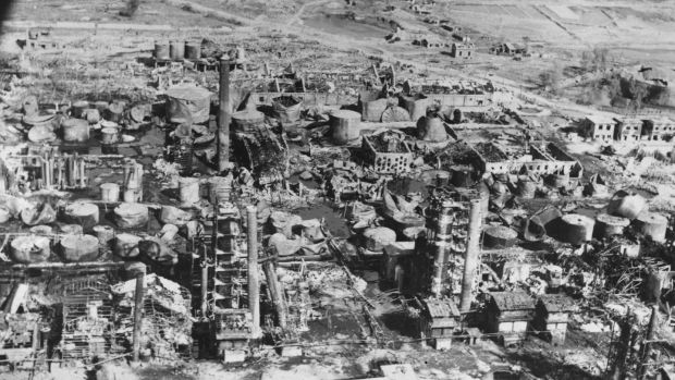 An oil refinery in North Korea after being destroyed by B-29 bombers. Photograph: Hulton-Deutsch Collection/CORBIS/Corbis via Getty Images